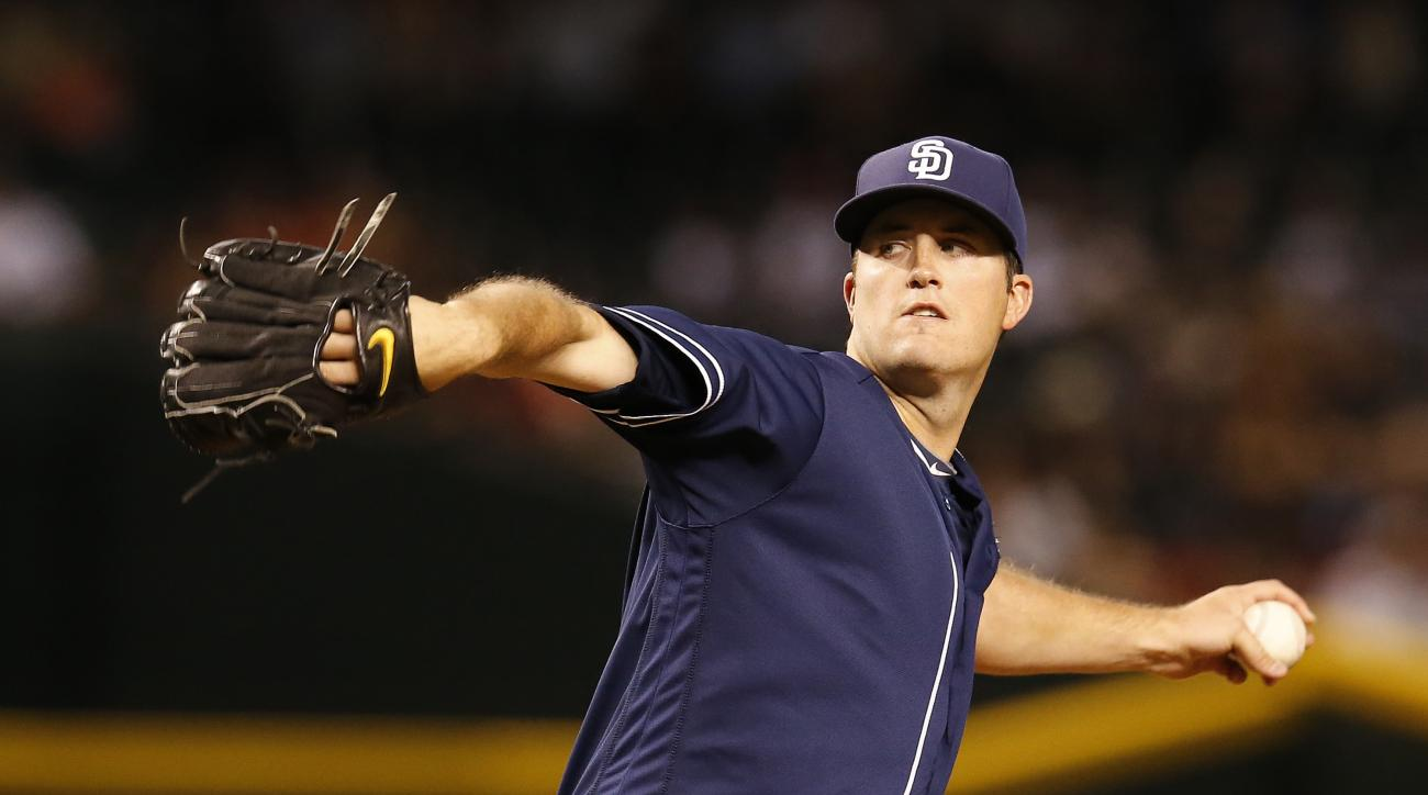 San Diego Padres starting pitcher Drew Pomeranz throws in the first inning during a baseball game against the Arizona Diamondbacks, Sunday, May 29, 2016, in Phoenix. (AP Photo/Rick Scuteri)