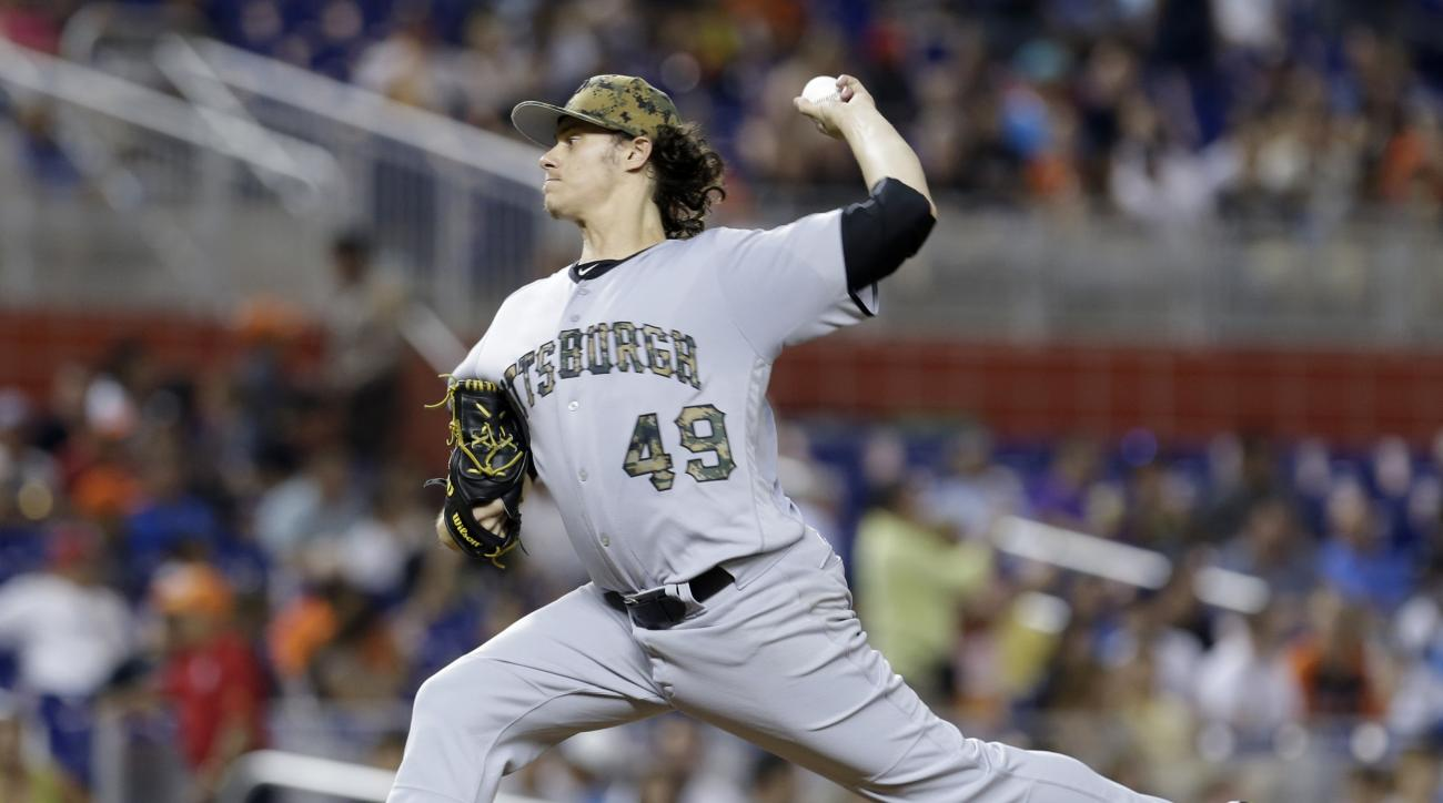 Pittsburgh Pirates' Jeff Locke (49) pitches against the Miami Marlins during the fourth inning of a baseball game, Monday, May 30, 2016, in Miami. (AP Photo/Alan Diaz)