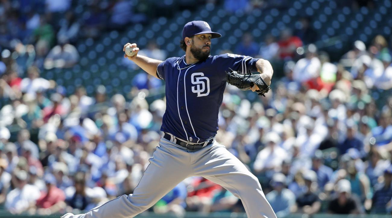 San Diego Padres starting pitcher James Shields throws against the Seattle Mariners in the first inning of a baseball game, Tuesday, May 31, 2016, in Seattle. (AP Photo/Ted S. Warren)