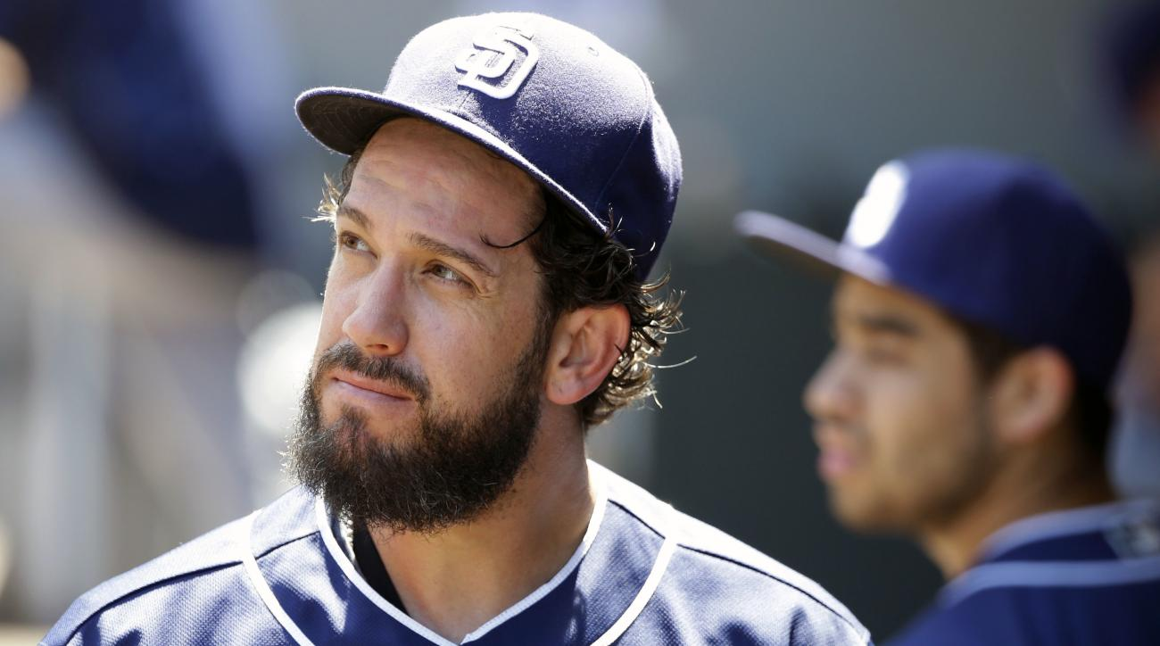 San Diego Padres starting pitcher James Shields looks to the scoreboard as he walks to the clubhouse after he was pulled in the third inning of a baseball game against the Seattle Mariners, Tuesday, May 31, 2016, in Seattle. Shields gave up 10 runs, all o