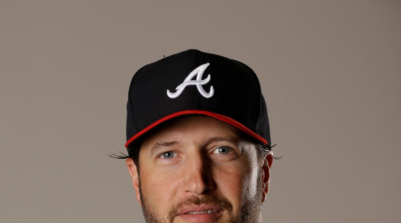This Feb. 26, 2016 file photo shows Jason Grilli of the Atlanta Braves baseball team. The Toronto Blue Jays have added a veteran to their bullpen by acquiring Jason Grilli from the Atlanta Braves in exchange for a pitching prospect, Tuesday, May 31, 2016.