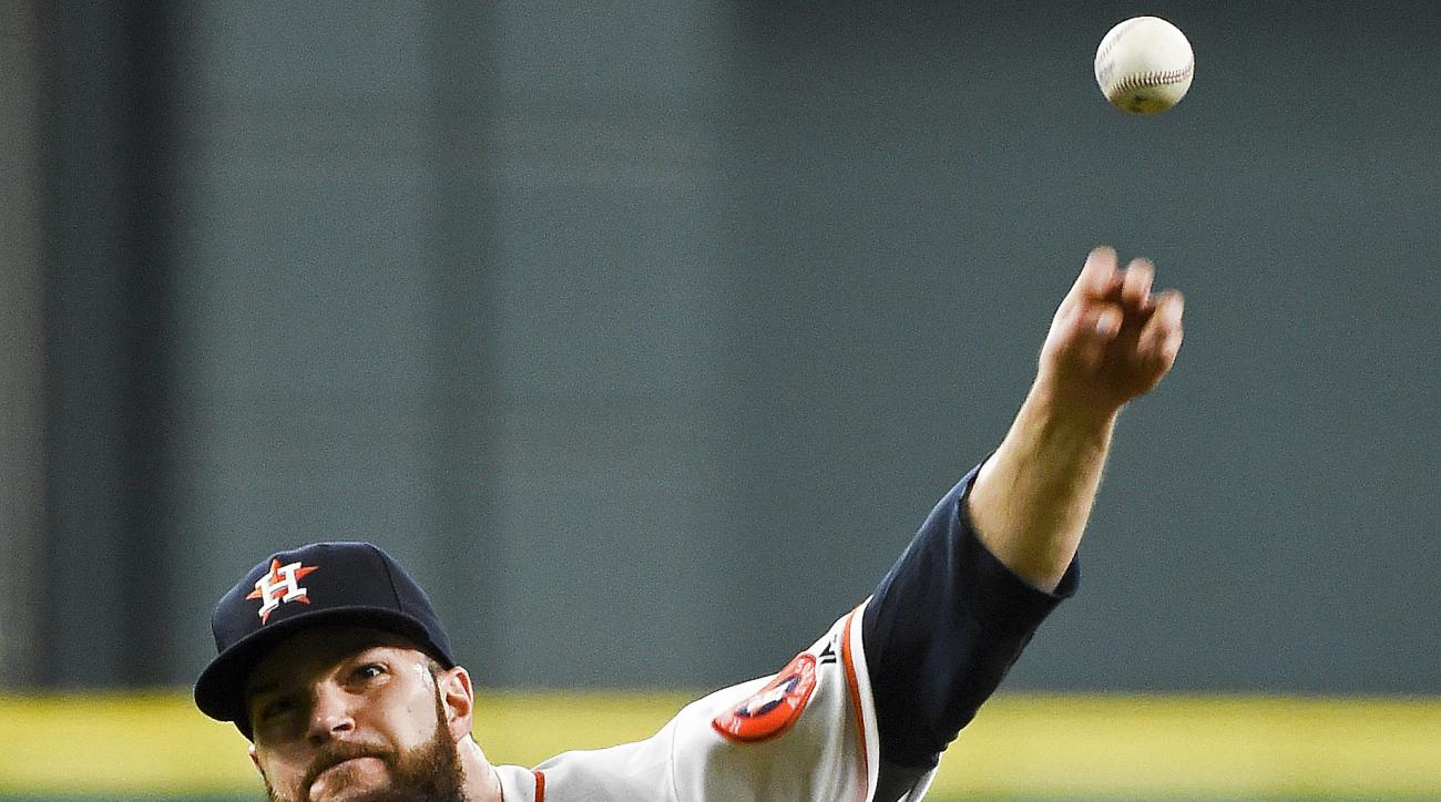 Houston Astros starting pitcher Dallas Keuchel delivers during the fourth inning of a baseball game against the Arizona Diamondbacks, Thursday, June 2, 2016, in Houston. (AP Photo/Eric Christian Smith)