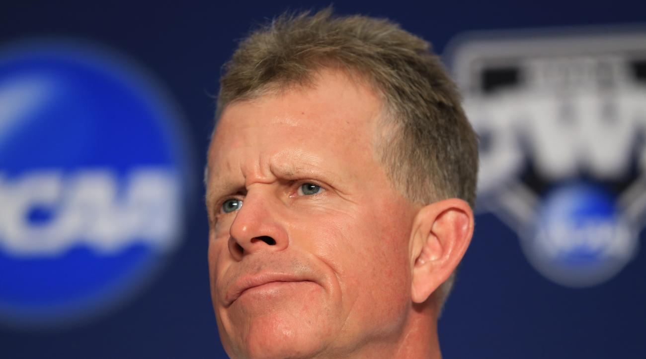 Vanderbilt coach Tim Corbin takes a question during a news conference in Omaha, Neb., Sunday, June 21, 2015, ahead of the best-of-three NCAA College World Series baseball championship finals between Vanderbilt and Virginia. (AP Photo/Nati Harnik)