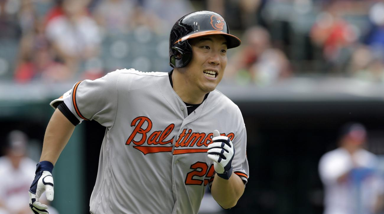 FILE - In this May 29, 2016, file photo, Baltimore Orioles' Hyun Soo Kim runs the bases after hitting a solo home run off Cleveland Indians relief pitcher Jeff Manship in the seventh inning of a baseball game in Cleveland. Kim received a lesson in basebal
