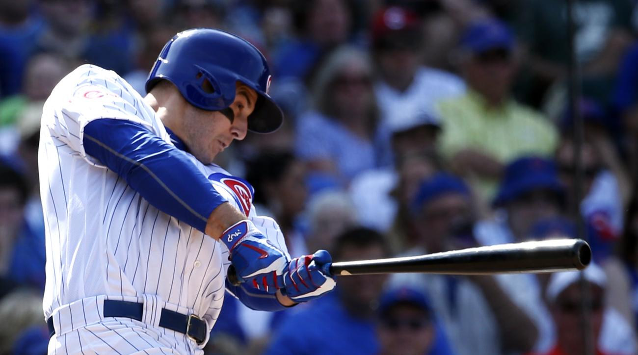 Chicago Cubs' Anthony Rizzo hits a single against the Arizona Diamondbacks during the eighth inning of a baseball game Friday, June 3, 2016, in Chicago. (AP Photo/Nam Y. Huh)