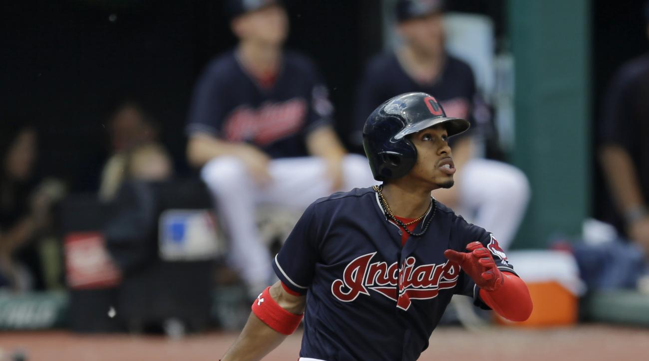 Cleveland Indians' Francisco Lindor watches his ball after hitting a solo home run off Kansas City Royals starting pitcher Chris Young in the fifth inning of a baseball game, Sunday, June 5, 2016, in Cleveland. (AP Photo/Tony Dejak)