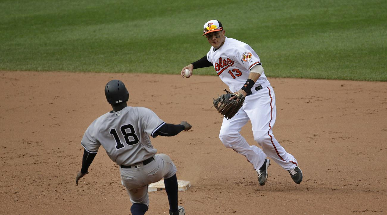 Baltimore Orioles shortstop Manny Machado, right, throws to first base for a double play after forcing out New York Yankees' Didi Gregorius on Robert Refsnyder's ground ball in the eighth inning of a baseball game in Baltimore, Sunday, June 5, 2016. (AP P