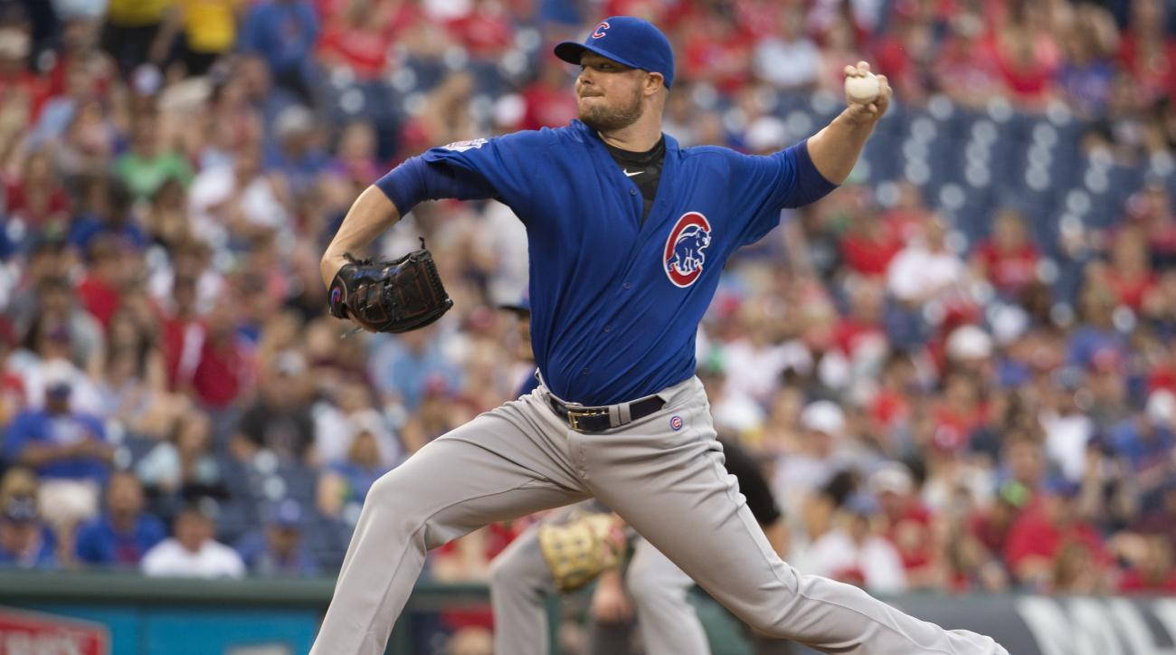 Chicago Cubs starting pitcher Jon Lester throws a pitch during the first inning of a baseball game against the Philadelphia Phillies, Monday, June 6, 2016, in Philadelphia. (AP Photo/Chris Szagola)