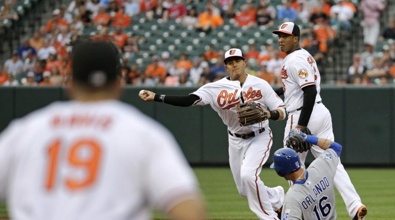 Baltimore Orioles shortstop Manny Machado, center, throws to first baseman Chris Davis (19) for a double play after forcing out Kansas City Royals' Paulo Orlando (16) on Jarrod Dyson's ground ball in the second inning of a baseball game in Baltimore, Mond