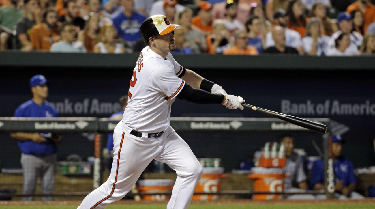 Baltimore Orioles' Matt Wieters watches his solo home run in the seventh inning of a baseball game against the Kansas City Royals in Baltimore, Monday, June 6, 2016. Baltimore won 4-1. (AP Photo/Patrick Semansky)