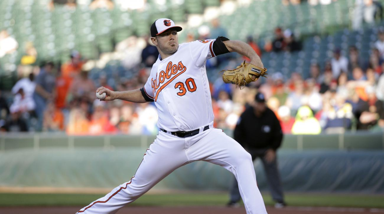 Baltimore Orioles starting pitcher Chris Tillman throws to the Kansas City Royals during the first inning of a baseball game in Baltimore, Wednesday, June 8, 2016. (AP Photo/Patrick Semansky)