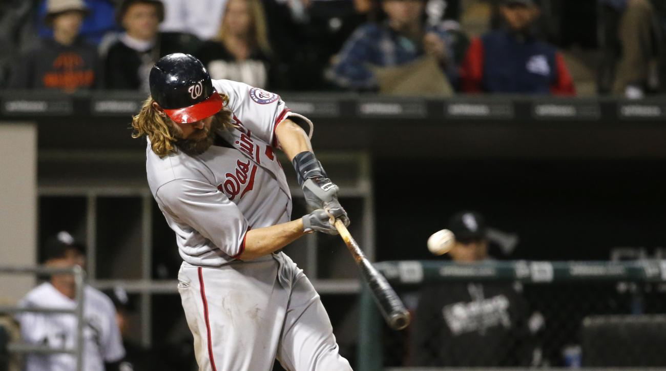 Washington Nationals' Jayson Werth hits a three-run home run off Chicago White Sox relief pitcher David Robertson during the eighth inning of a baseball game Wednesday, June 8, 2016, in Chicago. (AP Photo/Charles Rex Arbogast)