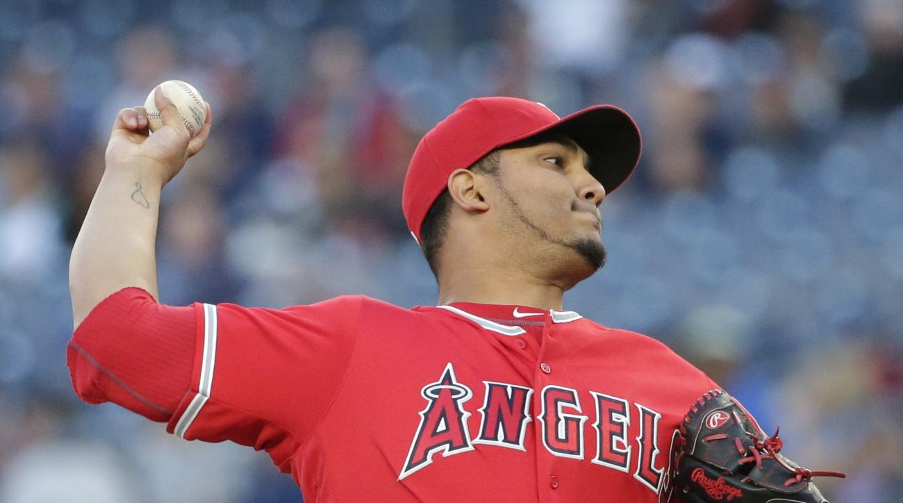 Los Angeles Angels' Jhoulys Chacin delivers a pitch during the first inning of a baseball game against the New York Yankees on Thursday, June 9, 2016, in New York. (AP Photo/Frank Franklin II)