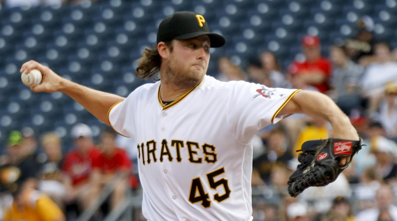 Pittsburgh Pirates starting pitcher Gerrit Cole throws against the St. Louis Cardinals during the first inning of a baseball game Friday, June 10, 2016, in Pittsburgh. (AP Photo/Keith Srakocic)