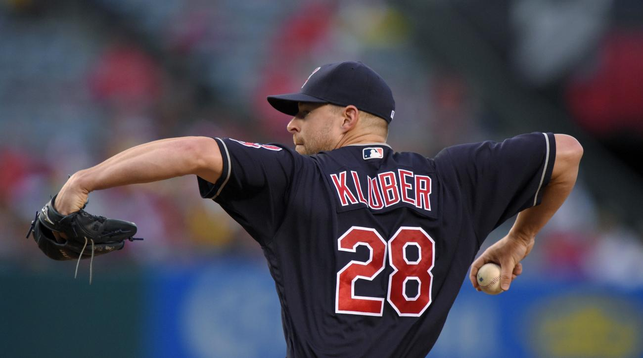Cleveland Indians starting pitcher Corey Kluber throws during the first inning of a baseball game against the Los Angeles Angels, Friday, June 10, 2016, in Anaheim, Calif. (AP Photo/Mark J. Terrill)