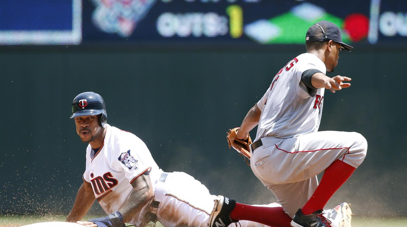 Minnesota Twins' Byron Buxton, left, is safe stealing second base after a late tag by Boston Red Sox shortstop Xander Bogaerts, right, during the second inning of a baseball game in Minneapolis, Sunday, June 12, 2016. (AP Photo/Ann Heisenfelt)