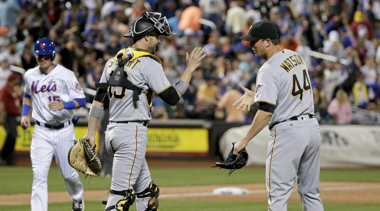 Pittsburgh Pirates relief pitcher Tony Watson (44) greets catcher Chris Stewart (19) after the Pirates beat the New York Mets 4-0 in a baseball game, Tuesday, June 14, 2016, in New York. (AP Photo/Julie Jacobson)
