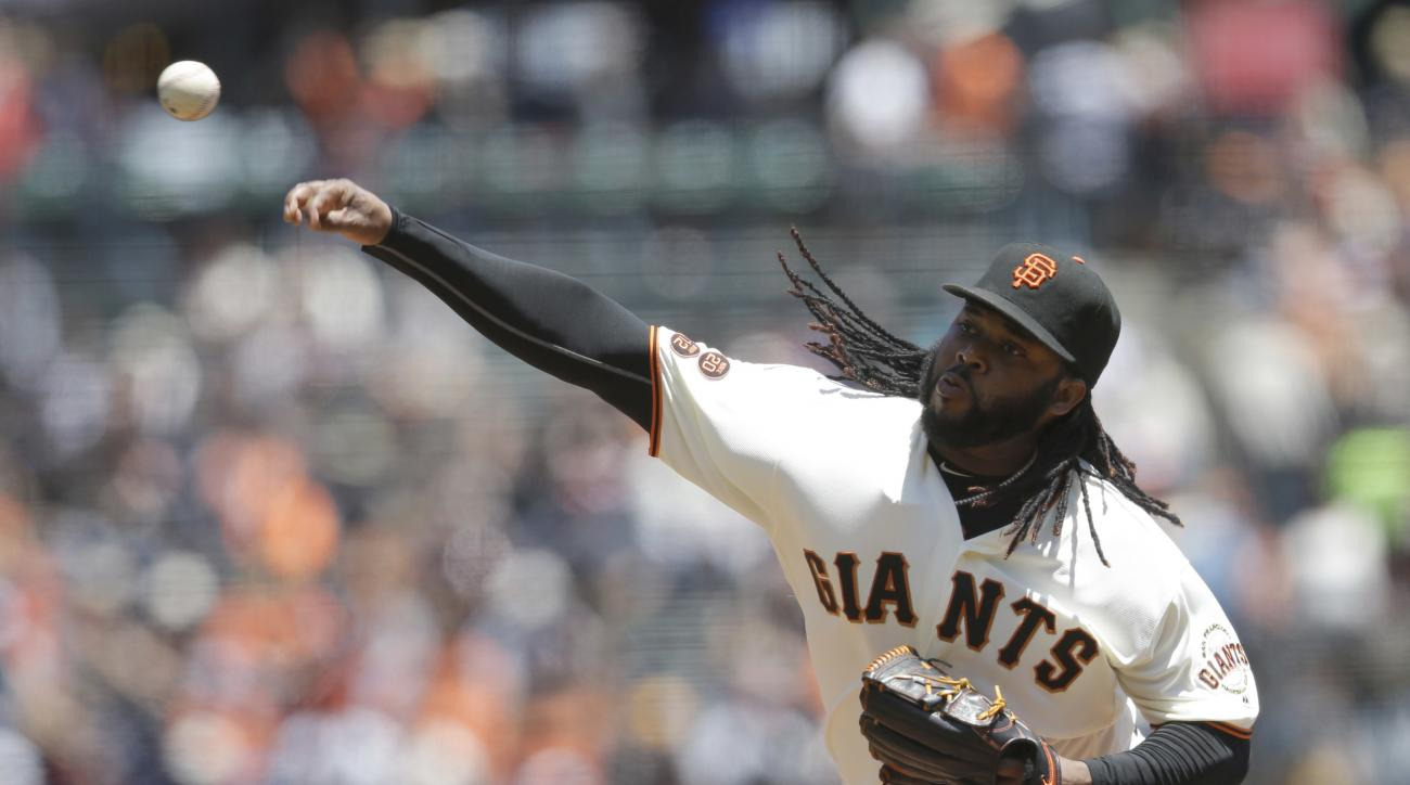 San Francisco Giants starting pitcher Johnny Cueto throws to the Milwaukee Brewers during the second inning of a baseball game Wednesday, June 15, 2016, in San Francisco. (AP Photo/Marcio Jose Sanchez)