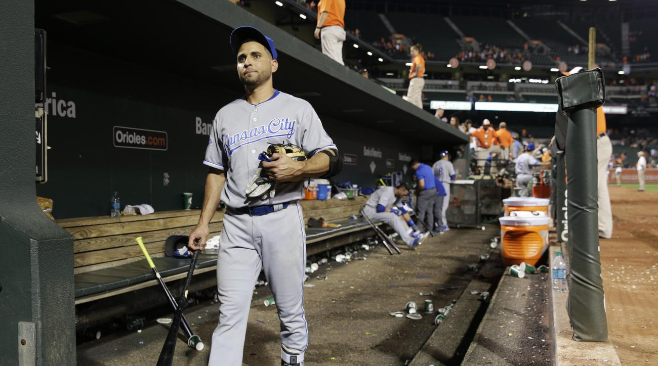 FILE - In this June 6, 2016, file phot, Kansas City Royals' Omar Infante walks out of the dugout after their 4-1 loss to the Baltimore Orioles ina baseball game in Baltimore. The Royals designated  Infante for assignment on Wednesday, June 15, 2016, likel