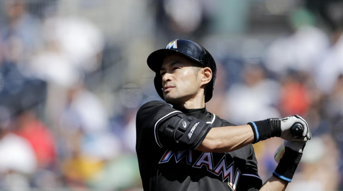 Miami Marlins' Ichiro Suzuki takes a practice swing before batting during the ninth inning of a baseball game against the San Diego Padres Wednesday, June 15, 2016, in San Diego. Suzuki hit a double in the at-bat, for his 4,257th career hit. With the hit,