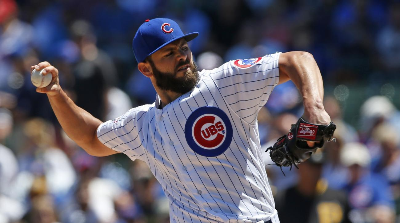 Chicago Cubs starter Jake Arrieta throws against the Pittsburgh Pirates during the first inning of a baseball game Friday, June 17, 2015, in Chicago. (AP Photo/Nam Y. Huh)