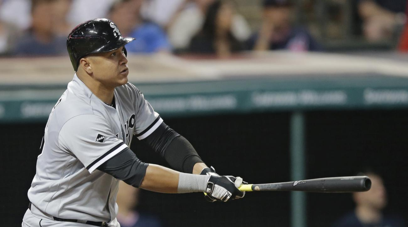 Chicago White Sox's Avisail Garcia watches his RBI double off Cleveland Indians relief pitcher Cody Allen during the ninth inning of a baseball game, Friday, June 17, 2016, in Cleveland. (AP Photo/Tony Dejak)