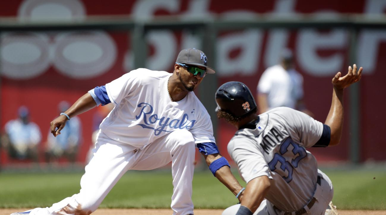 Kansas City Royals shortstop Alcides Escobar tags out Detroit Tigers Steven Moya after attempting to steal second base in the fifth inning of a baseball game at Kauffman Stadium in Kansas City, Mo., Sunday, June 19, 2016. (AP Photo/Colin E. Braley)