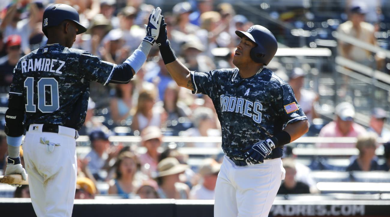 San Diego Padres' Yangervis Solarte i congratulated by Alexei Ramirez after scoring against the Washington Nationals on a sacrifice fly in the fifth inning of a baseball game, Sunday, June 19, 2016, in San Diego. (AP Photo/Lenny Ignelzi)