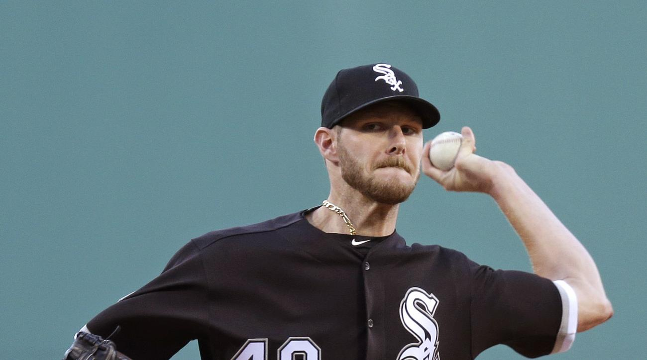 Chicago White Sox starting pitcher Chris Sale delivers during the first inning of a baseball game against the Boston Red Sox at Fenway Park, Tuesday, June 21, 2016, in Boston. (AP Photo/Charles Krupa)