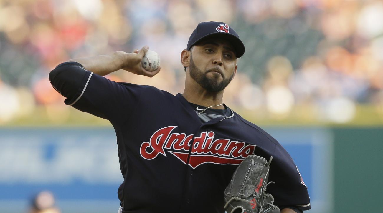 Cleveland Indians starting pitcher Danny Salazar throws during the first inning of a baseball game against the Detroit Tigers, Friday, June 24, 2016, in Detroit. (AP Photo/Carlos Osorio)