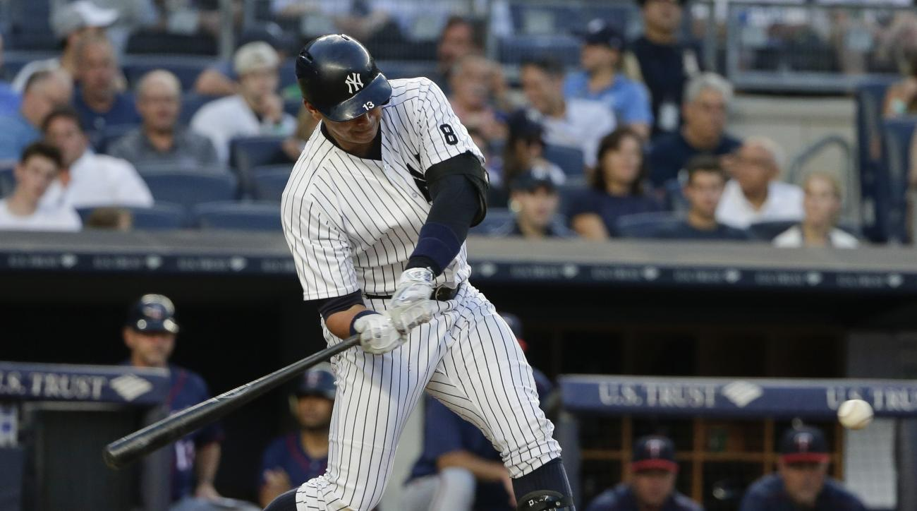 New York Yankees' Alex Rodriguez swings on an RBI single during the third inning of a baseball game against the Minnesota Twins on Friday, June 24, 2016, in New York. (AP Photo/Frank Franklin II)