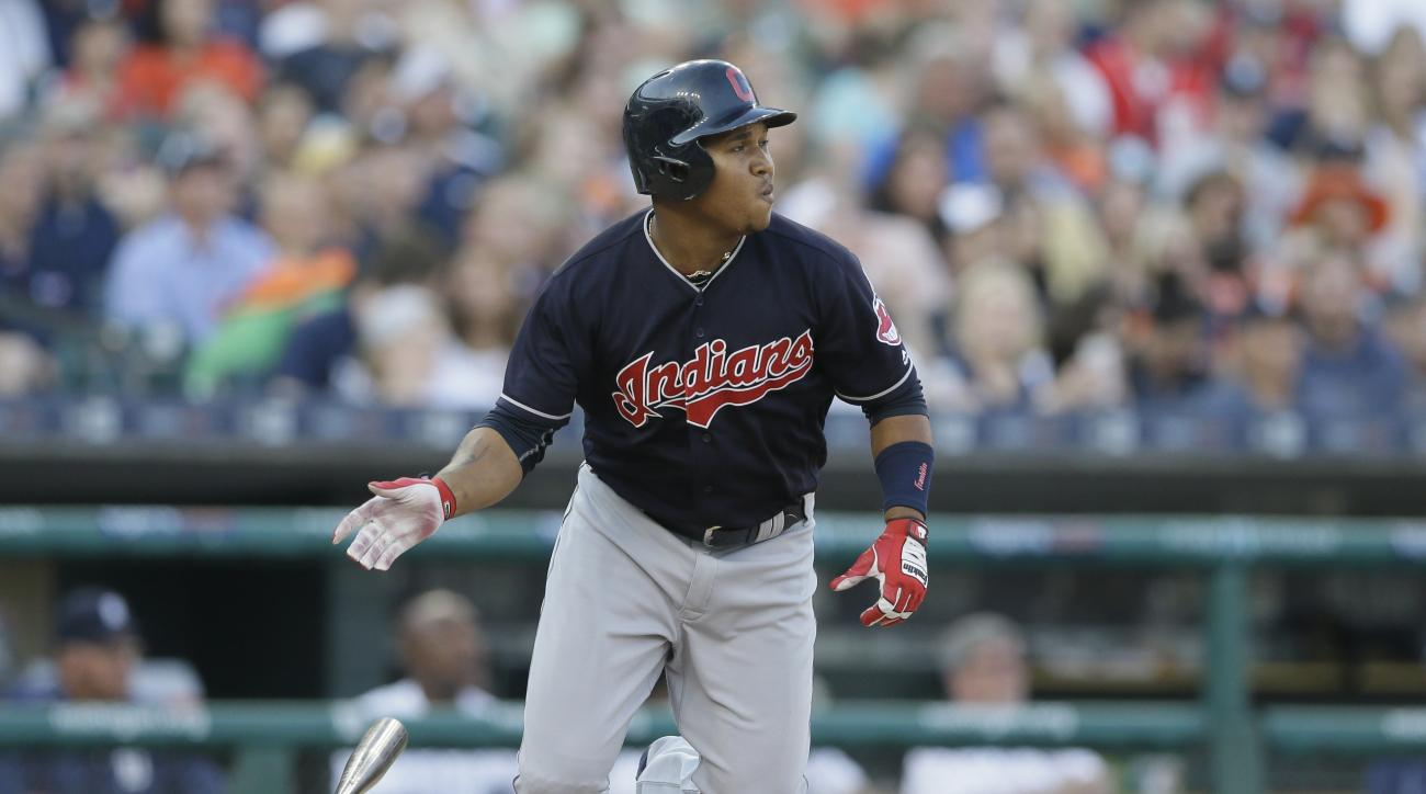 Cleveland Indians' Jose Ramirez watches his triple off Detroit Tigers pitcher Jordan Zimmermann during the fourth inning of a baseball game, Friday, June 24, 2016, in Detroit. (AP Photo/Carlos Osorio)