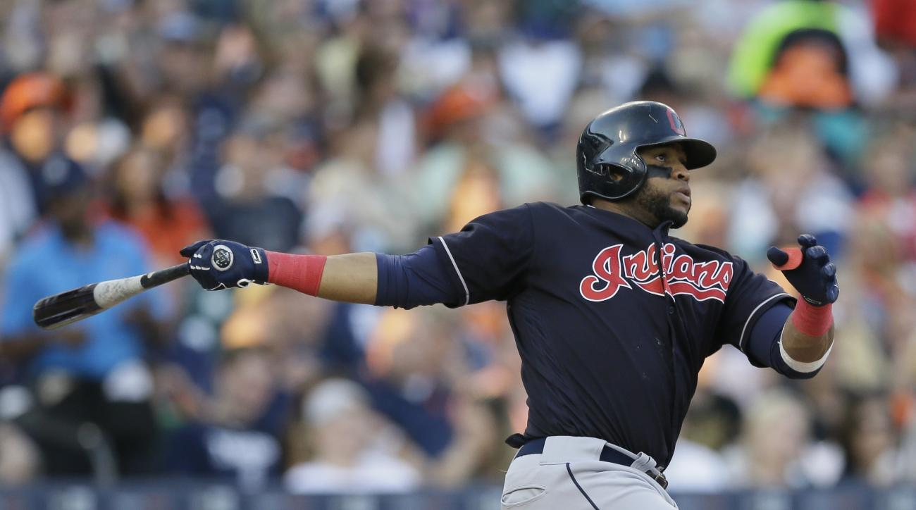 Cleveland Indians designated hitter Carlos Santana doubles during the fourth inning of a baseball game against the Detroit Tigers, Friday, June 24, 2016, in Detroit. (AP Photo/Carlos Osorio)