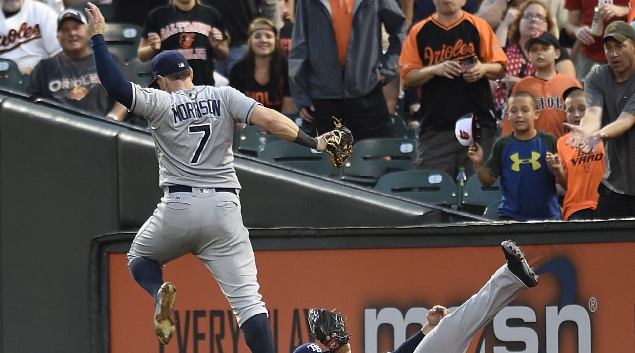 Tampa Bay Rays right fielder Jaff Decker, right, makes a sliding catch on a popup by Baltimore Orioles' Nolan Reimold as first baseman Logan Morrison jumps over him in the third inning of a baseball game, Friday, June 24, 2016, in Baltimore. (AP Photo/Gai