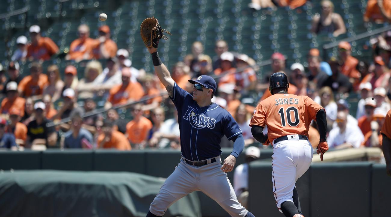 Baltimore Orioles' Adam Jones is safe at first with a single as Tampa Bay Rays first baseman Logan Morrison, left, reaches for the ball during the first inning of the first baseball game in a split doubleheader, Saturday, June 25, 2016, in Baltimore. (AP