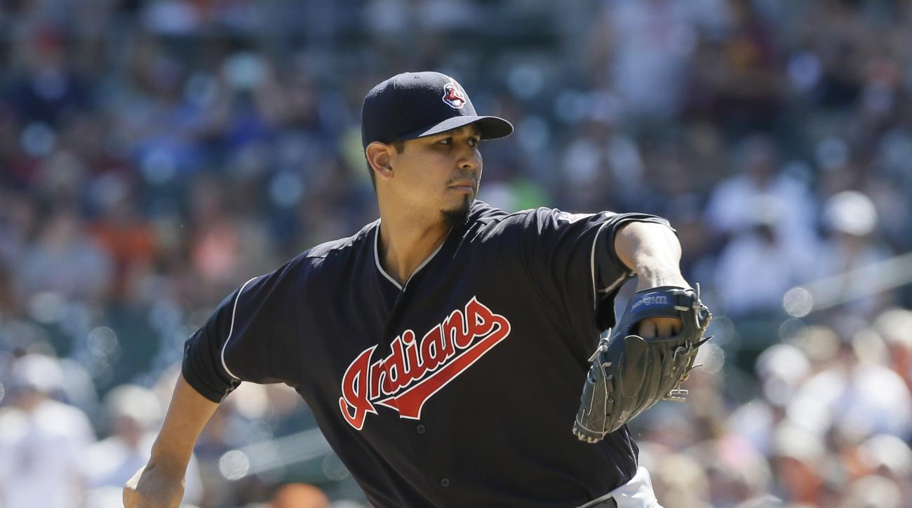 Cleveland Indians starting pitcher Carlos Carrasco throws during the first inning of a baseball game against the Detroit Tigers, Saturday, June 25, 2016, in Detroit. (AP Photo/Carlos Osorio)