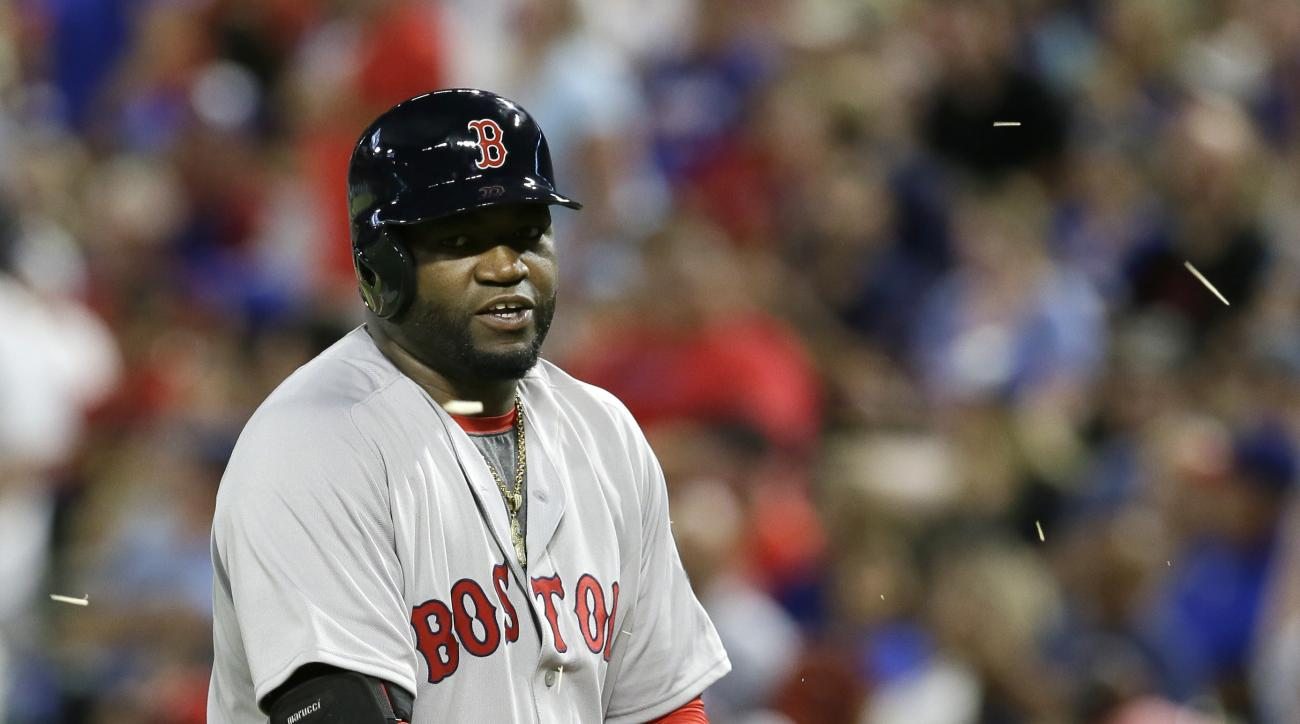 Boston Red Sox designated hitter David Ortiz breaks his bat after grounding out during the second inning of a baseball game against the Texas Rangers in Arlington, Texas, Saturday, June 25, 2016. (AP Photo/LM Otero)