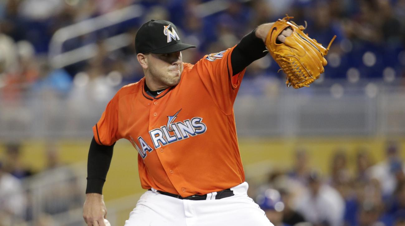 Miami Marlins starting pitcher Jose Fernandez throws during the first inning of a baseball game against the Chicago Cubs, Sunday, June 26, 2016, in Miami. (AP Photo/Lynne Sladky)