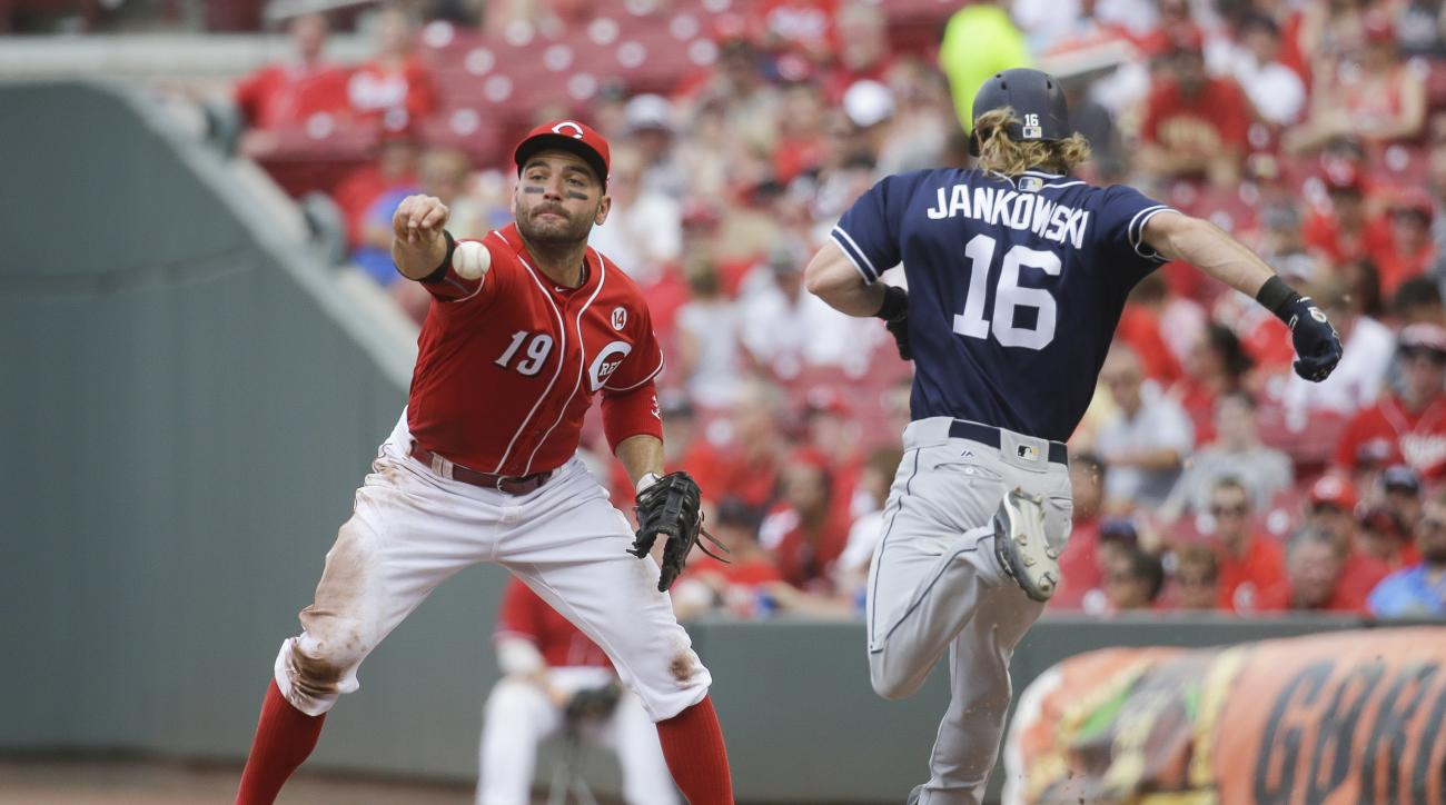 Cincinnati Reds first baseman Joey Votto (19) misses a barehanded catch-attempt on a infield single by San Diego Padres' Travis Jankowski (16) in the sixth inning of a baseball game, Sunday, June 26, 2016, in Cincinnati. (AP Photo/John Minchillo)