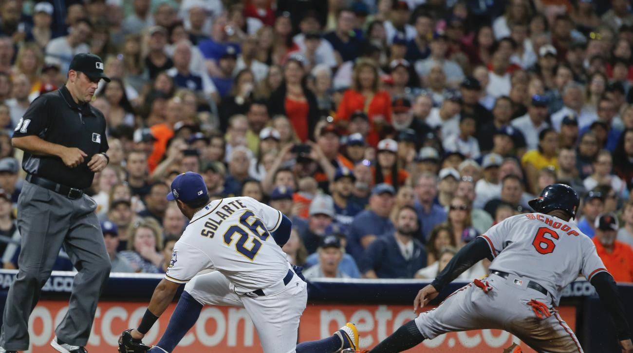 Baltimore Orioles' Jonathan Schoop is safe at third while advancing on a wild pitch as San Diego Padres third baseman Yangeris Solarte stops a late and off-target throw during the fourth inning of a baseball game Tuesday, June 28, 2016, in San Diego. (AP