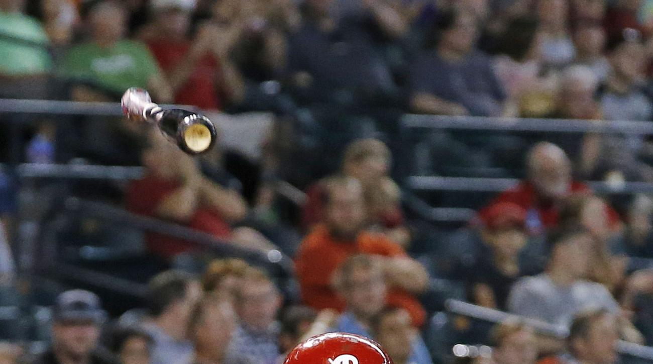 Philadelphia Phillies' Maikel Franco throws his bat after striking out against the Arizona Diamondbacks during the fifth inning of a baseball game Wednesday, June 29, 2016, in Phoenix. (AP Photo/Ross D. Franklin)