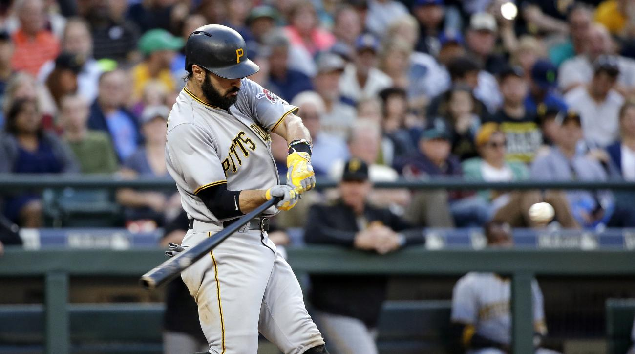 Pittsburgh Pirates' Sean Rodriguez doubles in three runs against the Seattle Mariners during the fifth inning of a baseball game Wednesday, June 29, 2016, in Seattle. (AP Photo/Elaine Thompson)