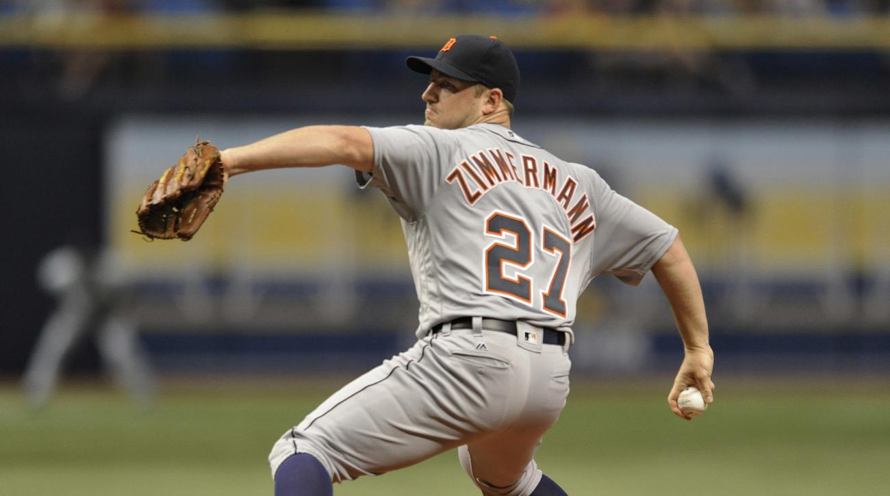 CORRECTS TO ZIMMERMANN- Detroit Tigers starter Jordan Zimmermann pitches against the Tampa Bay Rays during the first inning of a baseball game Thursday, June 30, 2016, in St. Petersburg, Fla. (AP Photo/Steve Nesius)