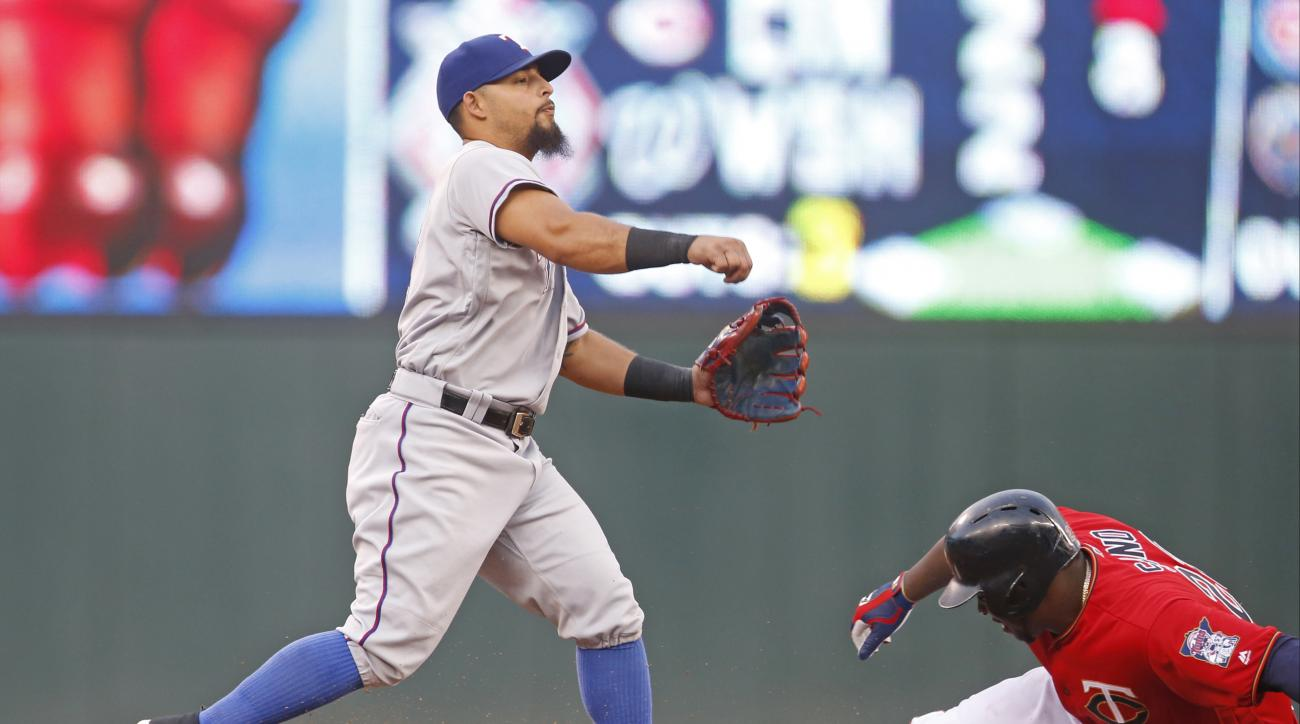 Texas Rangers second baseman Rougned Odor, left, completes the double play after the force at second of Minnesota Twins' Miguel Sano in the fourth inning of a baseball game Friday, July 1, 2016, in Minneapolis. (AP Photo/Jim Mone)
