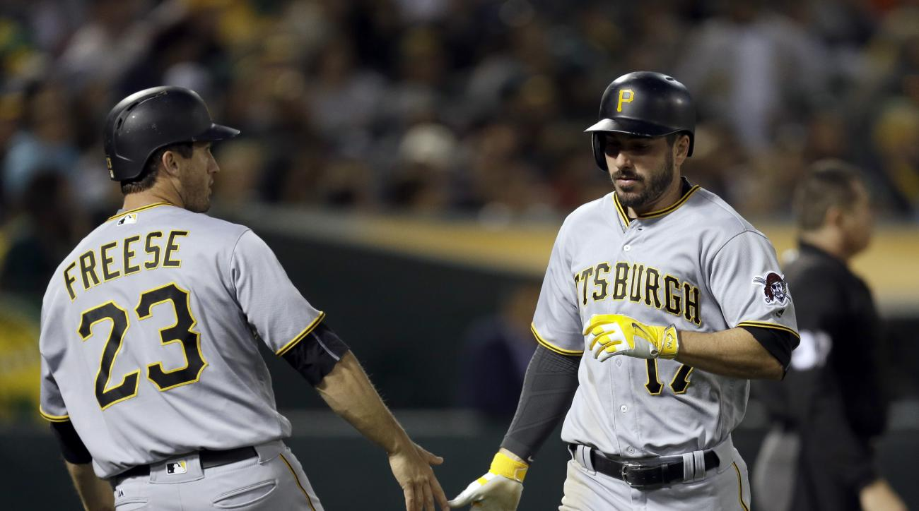 Pittsburgh Pirates' Matt Joyce, right, celebrates with David Freese (23) after scoring against the Oakland Athletics in the sixth inning of a baseball game Friday, July 1, 2016, in Oakland, Calif. Joyce scored on a double by Pirates' Josh Harrison. (AP Ph
