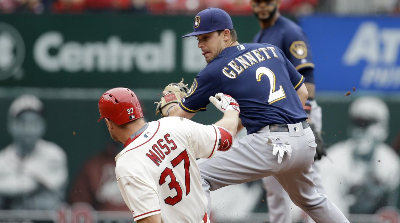 St. Louis Cardinals' Brandon Moss (37) is safe at second for a double as Milwaukee Brewers second baseman Scooter Gennett covers during the second inning of a baseball game Saturday, July 2, 2016, in St. Louis. (AP Photo/Jeff Roberson)