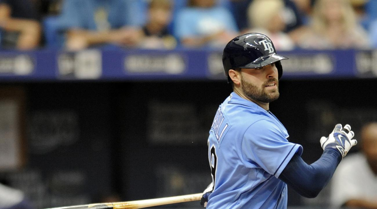 Tampa Bay Rays' Curt Casali hits an RBI-double off Detroit Tigers starter Mike Pelfrey during the fifth inning of a baseball game Sunday, July 3, 2016, in St. Petersburg, Fla. (AP Photo/Steve Nesius)