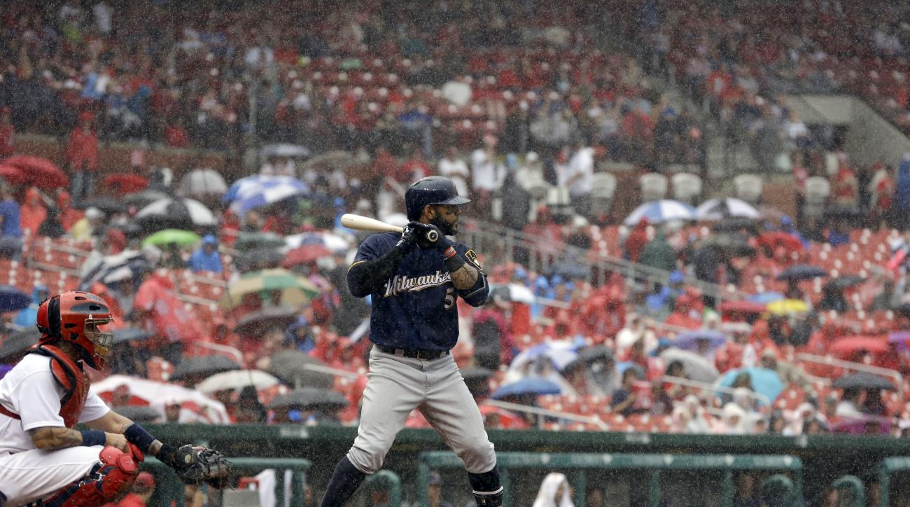 Milwaukee Brewers' Jonathan Villar, right, bats with St. Louis Cardinals catcher Yadier Molina behind the plate in a heavy rain during the sixth inning of a baseball game, Sunday, July 3, 2016, in St. Louis. (AP Photo/Jeff Roberson)