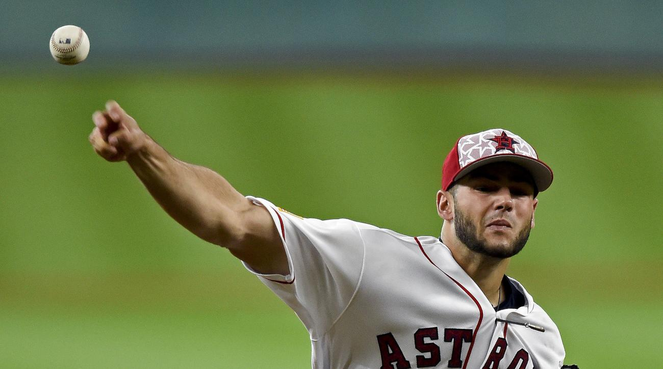 Houston Astros starting pitcher Lance McCullers delivers in the first inning of a baseball game against the Seattle Mariners, Monday, July 4, 2016, in Houston. (AP Photo/Eric Christian Smith)