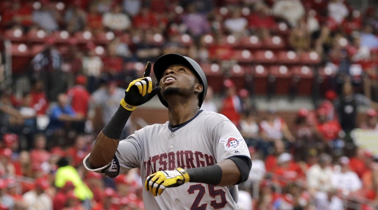 Pittsburgh Pirates' Gregory Polanco looks skyward after hitting a solo home run during the eighth inning of a baseball game against the St. Louis Cardinals, Monday, July 4, 2016, in St. Louis. (AP Photo/Jeff Roberson)